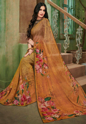 Digital Printed Georgette Saree in Beige