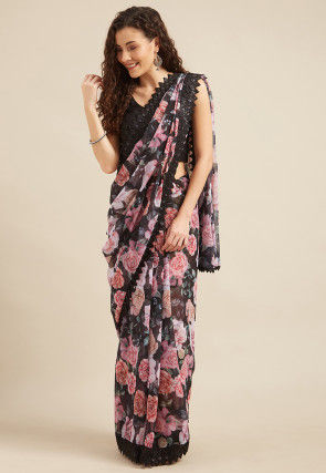 Digital Printed Georgette Saree in Black