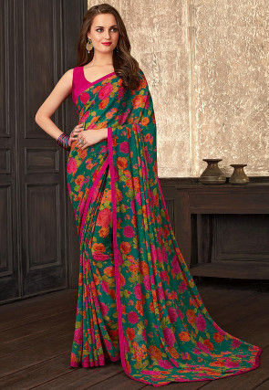 Digital Printed Georgette Saree in Dark Green