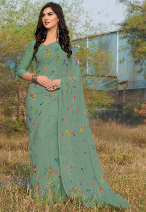 Digital Printed Georgette Saree in Dusty Green