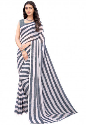 Digital Printed Georgette Saree in Grey and White