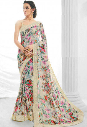 Digital Printed Georgette Saree in Cream and Multicolor