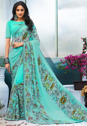 Digital Printed Georgette Saree in Light Turquoise