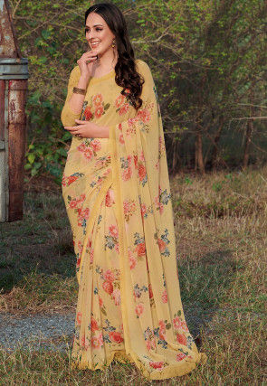 Digital Printed Georgette Saree in Light Yellow