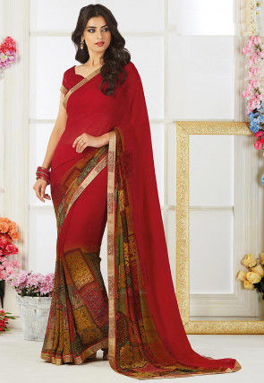 Digital Printed Georgette Saree in Maroon