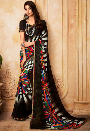Digital Printed Georgette Saree in Multicolor and Black