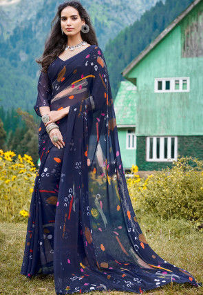 Digital Printed Georgette Saree in Navy Blue