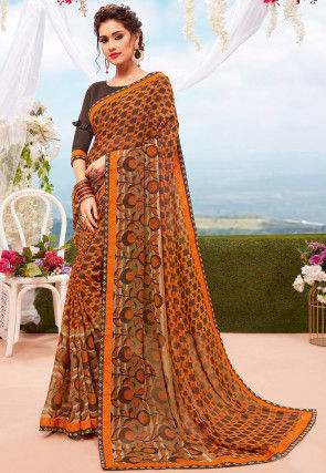 Digital Printed Georgette Saree in Orange and Brown
