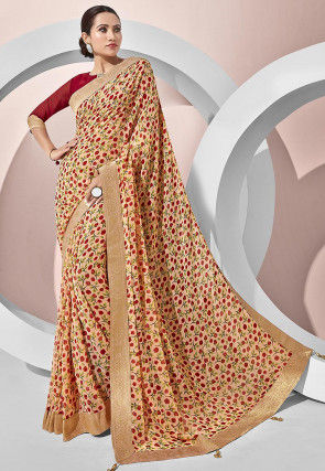 Digital Printed Georgette Saree in Peach