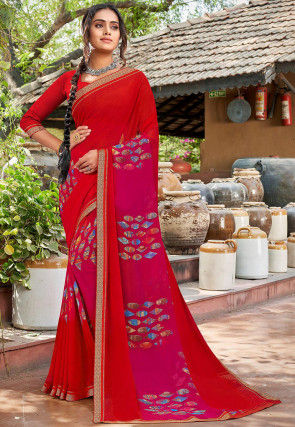 Digital Printed Georgette Saree in Red and Magenta Ombre