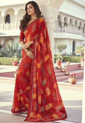 Digital Printed Georgette Saree in Red