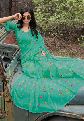 Digital Printed Georgette Saree in Sea Green