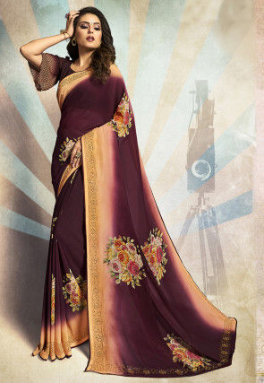 Digital Printed Georgette Saree in Shaded Magenta and Peach