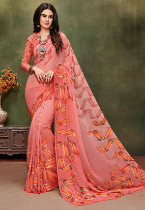 Digital Printed Crepe Saree in Shaded Pink
