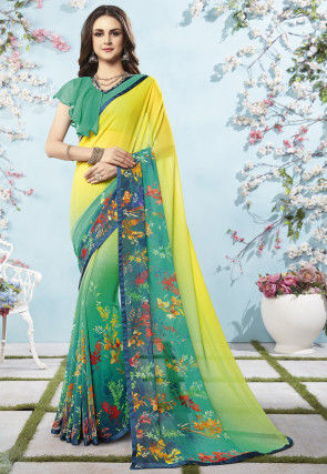 Digital Printed Georgette Saree in Shaded Yellow and Green