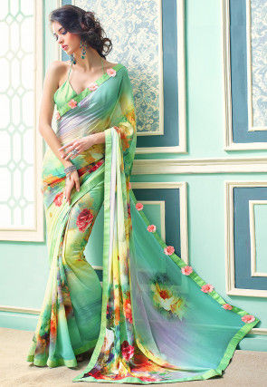Digital Printed Georgette Saree in Green