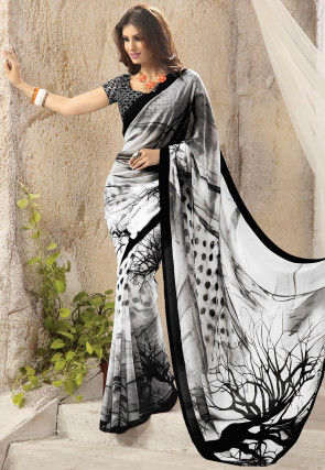 Digital Printed Georgette Saree in White and Black