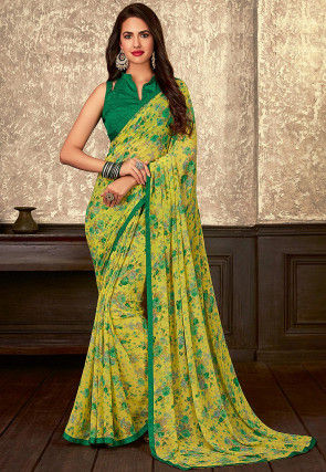 Digital Printed Georgette Saree in Yellow