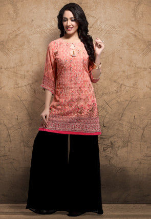 Digital Printed Georgette Straight Kurti in Peach