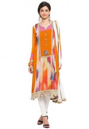 Digital Printed Georgette Straight Suit in Orange