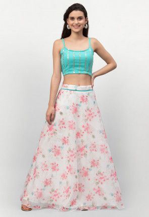 Digital Printed Georgette Strappy Top Set in Turquoise