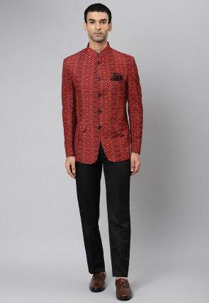 Digital Printed Jute Cotton Jodhpuri Suit in Maroon