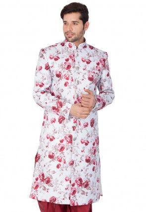Digital Printed Jute Cotton Sherwani in White