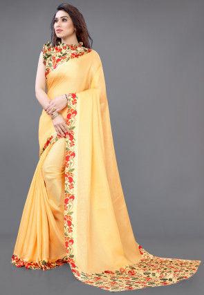 Digital Printed Jute Silk Saree in Light Yellow