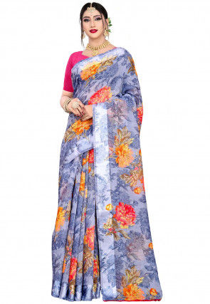 Digital Printed Linen Saree in Dusty Blue