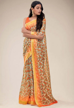 Digital Printed Linen Saree in Off White and Orange