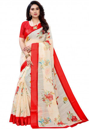 Digital Printed Linen Saree in Off White