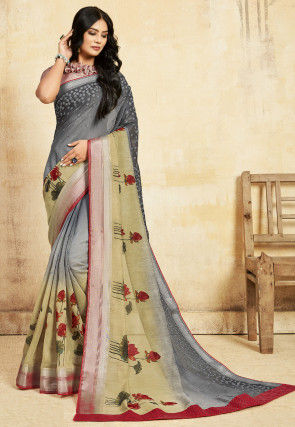 Digital Printed Linen Saree in Shaded Grey and Beige