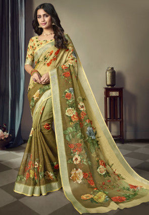 Digital Printed Linen Saree in Shaded Olive Green and Yellow
