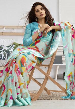Digital Printed Linen Saree in Sky Blue