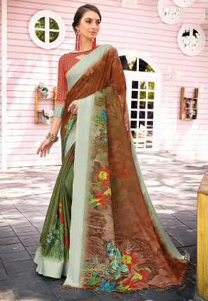 Digital Printed Linen Silk Saree in Brown and Olive Green