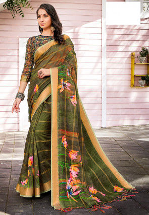 Digital Printed Linen Silk Saree in Dark Olive Green