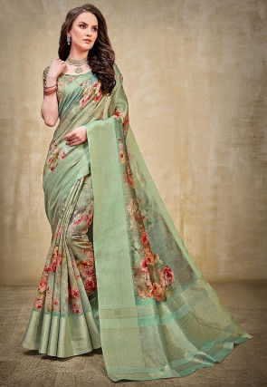 Digital Printed Linen Silk Saree in Dusty Green