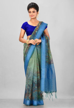 Digital Printed Linen Silk Saree in Green and Blue