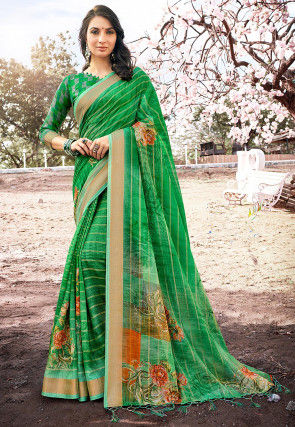 Digital Printed Linen Silk Saree in Green