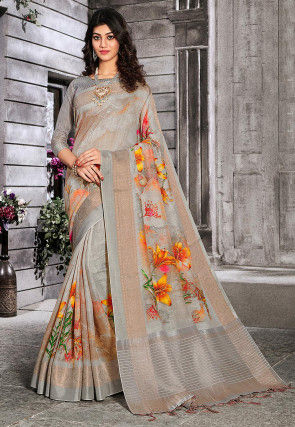 Digital Printed Linen Silk Saree in Light Grey