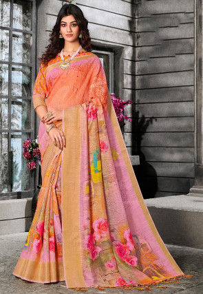 Digital Printed Linen Silk Saree in Light Orange and Light Pink