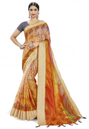 Digital Printed Linen Silk Saree in Mustard and Beige