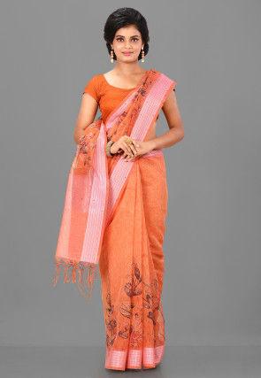 Digital Printed Linen Silk Saree in Orange