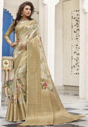 Digital Printed Linen Silk Saree in Pastel Green
