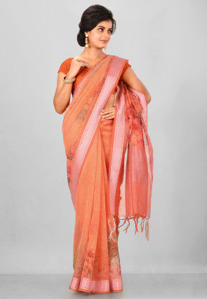 Digital Printed Linen Silk Saree in Peach