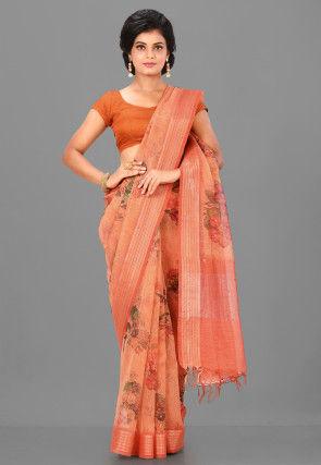 Digital Printed Linen Silk Saree in Peach