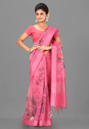 Digital Printed Linen Silk Saree in Pink