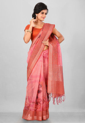 Digital Printed Linen Silk Saree in Pink