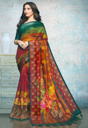 Digital Printed Linen Silk Saree in Red and Multicolor