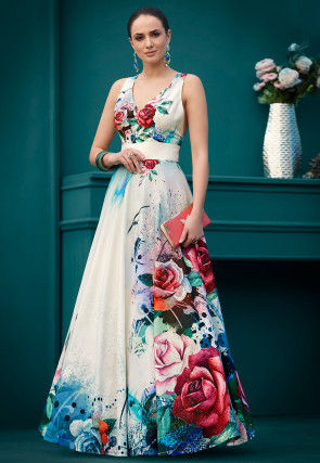 Digital Printed Lycra Gown in White and Multicolor